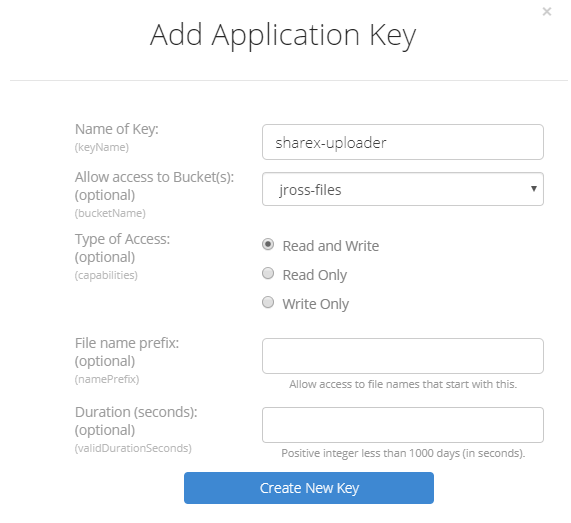 Add Application Key for Backblaze B2 Cloud Storage