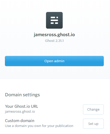 Ghost(Pro) blog configuration